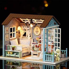 Weehey Kit de casa de muñecas en Miniatura DIY Realista Mini 3D Casa de Madera artesanía de la Sala con Muebles LED Luces de Regalo de cumpleaños de Navidad