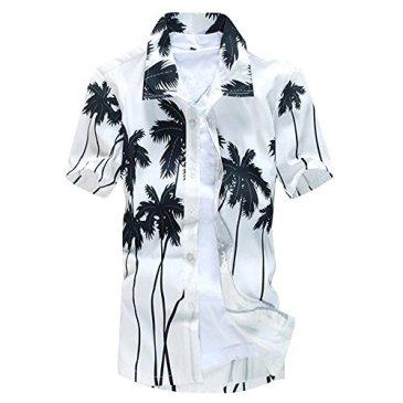 Dihope Homme Chemise Hawaienne T-Shirt Casual Manche Courte Imprimé Col Roulé Top Chemisette pour Plage Vacances