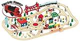 Jeu de Train En Bois 130 Piéces Circuit de Train Jeu de Construction Train En Bois Rails Accessoires Jouet à Tirer Educatif Pour Enfants plus Locomotive Electrique Jeu De Construction