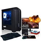 Fierce Terra 16 PC Gamer Paquet - Vite 3.7GHz Quad-Core AMD Ryzen 3 2200G, 1To HDD, 16Go, AMD Radeon Vega 8 Graphiques, Win 10, Clavier (UK/QWERTY), Souris, Moniteur 21.5 Pouces, Haut-parleurs 222036