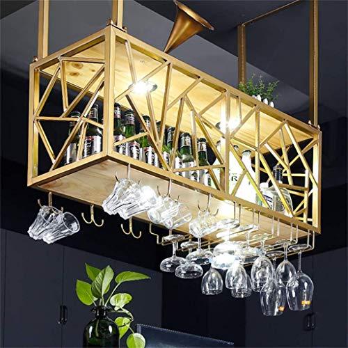 LXDDP Scaffale da Vino Design Cornice in Ferro Oro Rack Appeso al soffitto portabottiglie Vino in...