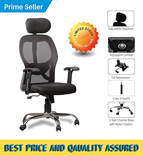 SEAT CHACHA Matrix High Back Executive Home Office Chair (Black mesh Fabric and Silver Finish Metal Base and armrest)