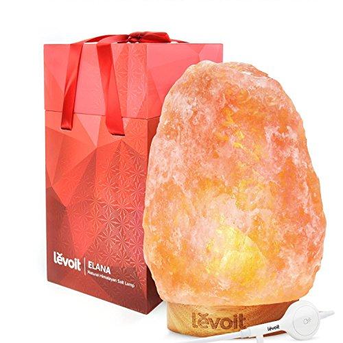 Levoit Elana Lámpara de Sal Natural del Himalaya Tallado a Mano, Brillo Natural de Color Naranja (3,6~5 kg, 19~25,5 cm de Altura), Control Táctil de Brillo, 3 x Bombilla 15W, Cable Certificado por la EMC y LVD y Caja de Regalo