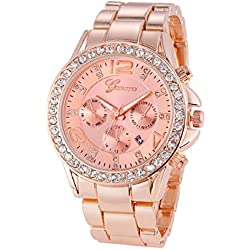 Geneva Platinum Analogue Rose Gold Dial Women's Watch (265)
