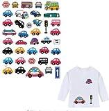 Pegatinas infantiles transfer parche termoadhesivo coches y autobuses para pijamas, sudaderas, camisetas, canastillas...22 x 16 cm. de OPEN BUY