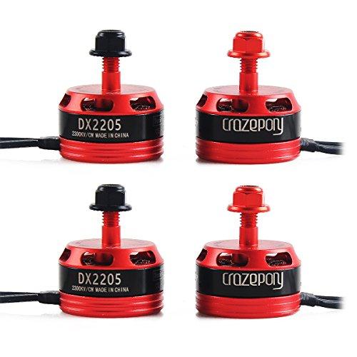 DroneAcc 4pcs DX2205 2300KV Brushless Motor 2CW 2CCW 2-4S Racing Edition Red for QAV210 X220 QAV250...