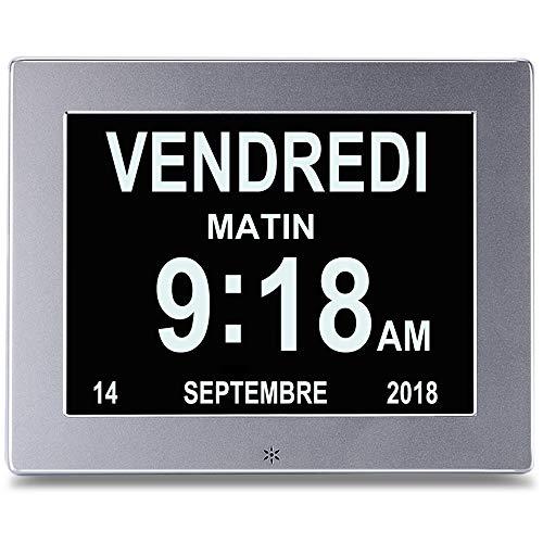 SENXINGYAN 8'LCD Calendario Orologio Digitale con Data, Orologio Calendario con Data, Giorno e Ora |...
