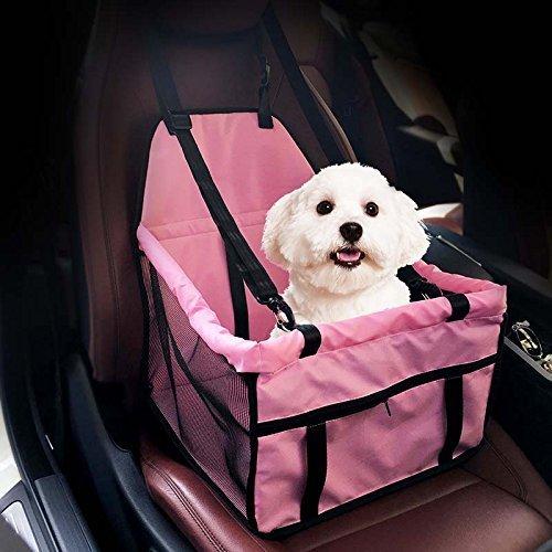 GENORTH® Asiento del Coche de Seguridad para Mascotas Perro Plegable Lavable Viaje Bolsas y Otra Mascota Pequeña con Cremallera Bolsillo (Rosa)