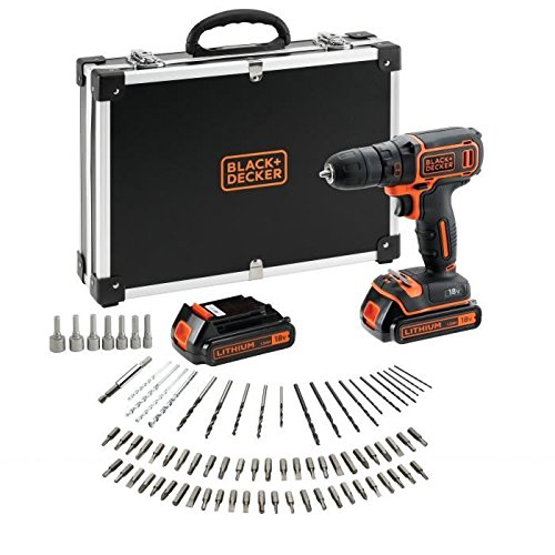 BLACK+DECKER BDCDC18BAFC-QW Perceuse visseuse sans fil - 18V - 1,5 Ah - 2 batteries - Chargeur inclus - 80 accessoires - Livrée en malette