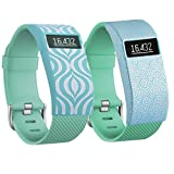 Greatfine Wireless Smart Watch Band Cover for Fitbit HR or Fitbit HR Charge (Teal+Yun)