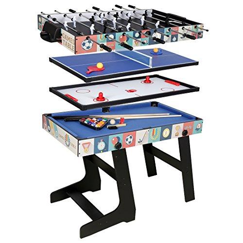 HCL- tavolo multigioco 4in 1,pieghevole, biliardo, calcio balilla, Hockey, ping pong, 121,5x...