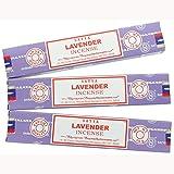 3X Lavande Satya Nag Champa Bâtons d'encens Encens 15g avec badge de souvenir par Sterling Effectz