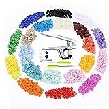 Aodoor T5 Snaps Botón Redondo Plastico (300pcs) con Snaps Alicate para DIY Ropa de bebé Ropa de tela Pañal Bib Raincoat - 20 Colores