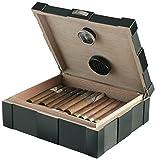 Egoist JK00131 Holz Humidor Box mit Hygrometer für ca. 40 Zigarren, Zigarren-Zubehör - British Travel (Schwarz)
