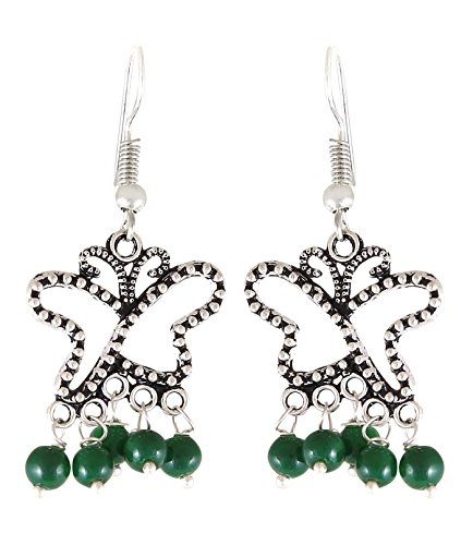Arittra Alloy Tribal Design German Silver Green Ghungroo Small Butterfly Earring in for Girls and Women-Valentine gift,todays,deal,party,casual,discount,offer,sale,clearance,lightning,festival,fashion,wedding,summer