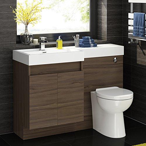 1200mm Walnut Vanity Unit Modern Toilet Bathroom Sink ...
