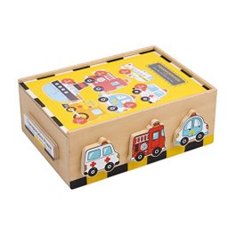 """1591 Puzzle in scatola """"Veicoli"""" small foot in legno, allena le capacità motorie fini e"""