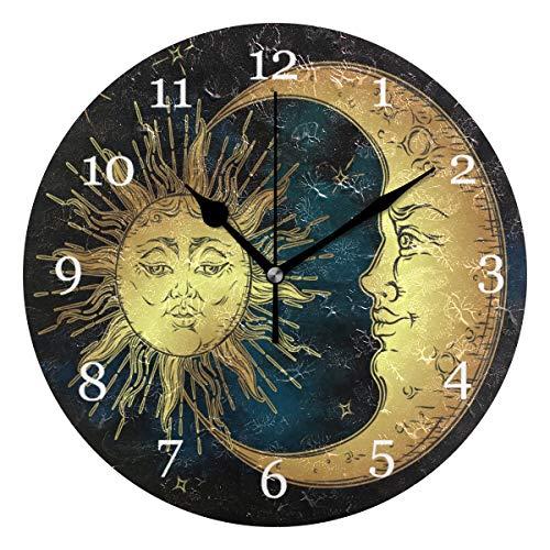 Vinlin Orologio da Parete Etnico Sole Luna Allattamento Non ticchettio Orologio per Ufficio Cucina Camera da Letto Soggiorno Cultura