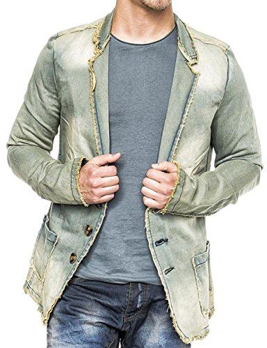 Herren Denim Jacke Vintage Jeansjacke Sakko Pitt ID1367, Farben:Beige,...