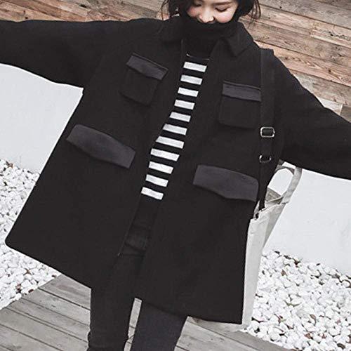 Inverno Coreano Cappotto Lunga Trench Coat Donne di Autunno e Inverno Caldo Casacca Collare Soddisfare Zipper Giacche Invernali (Color : Black, Size : L)