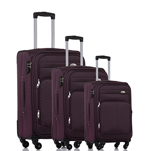 BEIBYE 8005 Stoffkoffer Gepäck Koffer 4 Rollen Reisekoffer Trolley Gepäckset SET in 6 Farben (Lila)