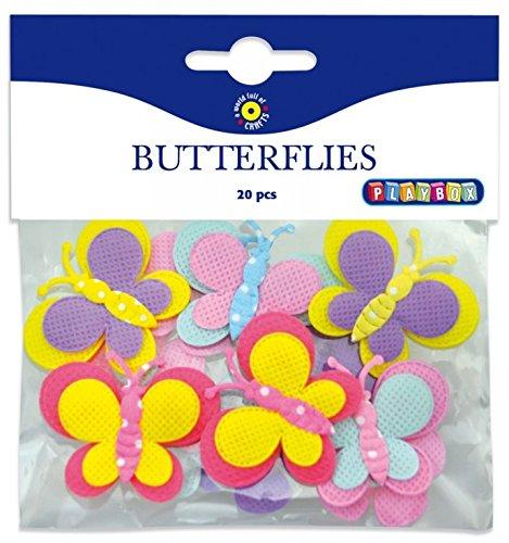 Playbox-Accesorios de Costura Tela Mariposas, Multicolor, 20Piezas