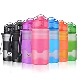Grsta Sport Water Bottle, 400ml/14oz-Pink Bpa Free Eco-Friendly Tritan Plastic, Reusable Drinks Water Bottles with Filter, for Kids, Running, Gym,Camping, Outdoors
