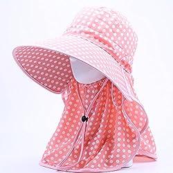 Summer Sun Hat Big, Anti Ultraviolet, Women Face Cap, Outdoor Neck, Sun Hat,Pink