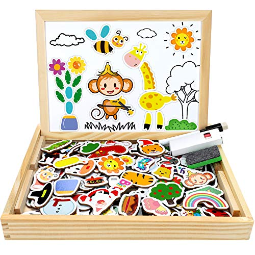 Jojoin Puzzle Magnetico Legno, 110 Pezzi Animale Giocattolo di Legno Bambini con 4 Temi di Vacanza -...