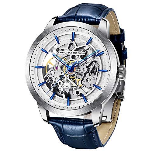 Pagani Design Automatic Männer es Watch mit transparenter Skelettmechanik-Wasserdichte Herrenwrist-Uhr, die bis zu 30 Meter mit echtem Leder-Strap & Stainless-Steel Case & Mineral Glass schützt