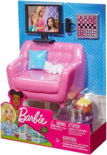 Barbie Set di Arredamenti da Interno, Soggiorno Che Include Un Gattino, Mobili e Accessori per Una Serata Cinema e Gioco, Bambola Non Inclusa, Giocattolo per Bambini 3 + Anni, FXG36