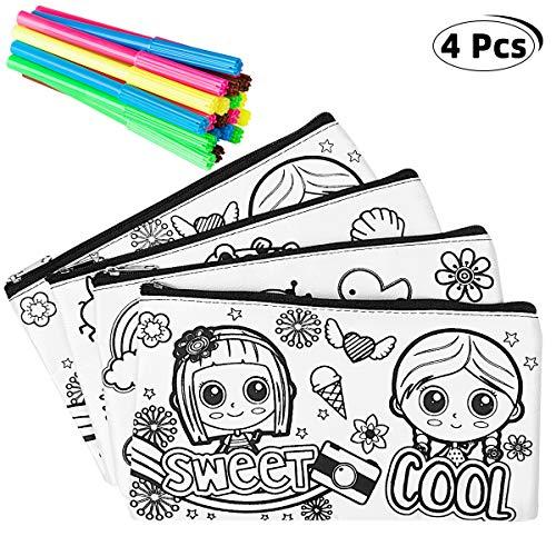 Richaa 4pz Kit | 4 Astucci da Colorare +20 Colori Penne, Bustine da Colorare Penna Colorata per...