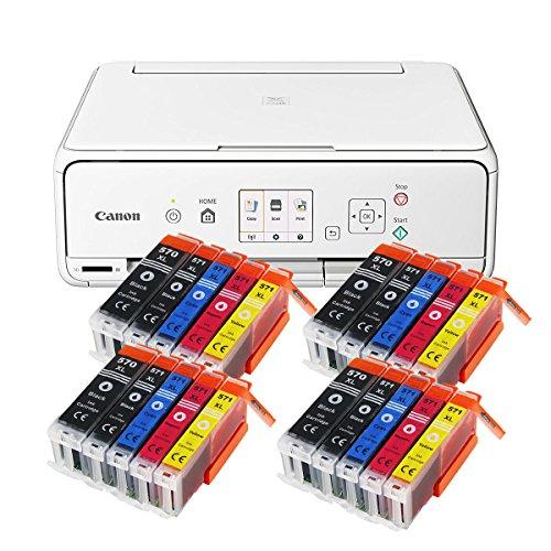Canon Pixma TS5051 TS-5051 Farbtintenstrahl-Multifunktionsgerät (Drucker, Scanner, Kopierer, USB, WLAN, Apple AirPrint, SD-Kartenleser) weiß + 20er Set IC-Office XL Tintenpatronen 570XL 571XL