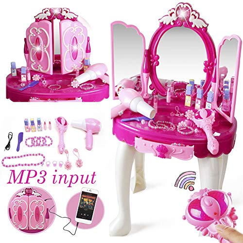 Khilona House Make Up Dressing Table Glamour & Beauty Set with Mirror,Stool,Hair Dryer,Lipstick,Necklace & Accessories with Play Mp3 Music Best Girls Gifts