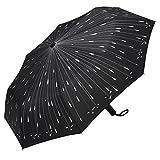 PLEMO Parapluie pliable noir de voyage Automatique Gouttes de Pluie
