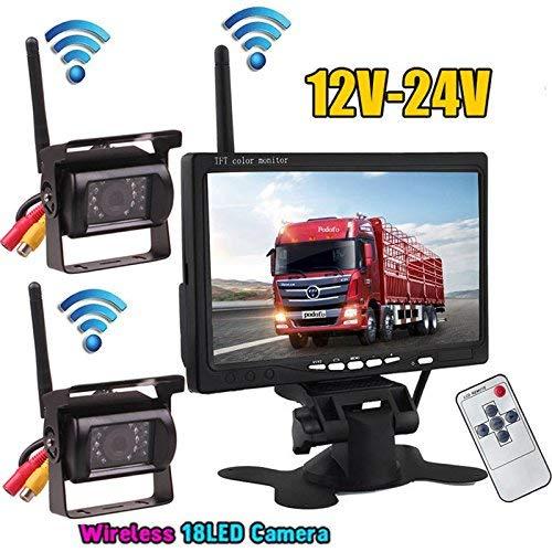 2 x wireless LED a infrarossi per visione notturna impermeabile backup telecamera posteriore + 2.4 G Wireless 17,8 cm a colori TFT LCD monitor per camper Bus camion rimorchio 12V-24V