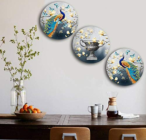 Studio Shubham Wooden Floral Peacock Wall Plates for Hanging (7.5 Inch, Set of 3)