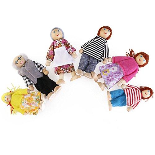 PIXNOR Famiglia di Bambole di Legno Famiglia Felice 6 persone