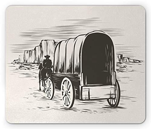 Yanteng Western Mouse Pad, Old Traditional Wagon Wild West Prairies Pioneer en Carro de Transporte, tamaño estándar, rectángulo, Antideslizante, Alfombrilla de Goma, Blanco y Negro