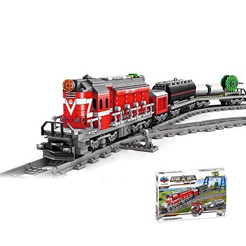 DIY montó la locomotora diesel del tren eléctrico de los bloques huecos del carril para los niños