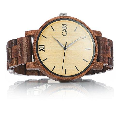Cari Herren Männer Holzuhr 43mm mit Schweizer Uhrwerk - Holz-Armbanduhr Havanna-061