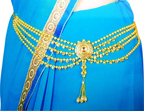 Fresh Vibes Traditional Pearls Waist Belt Saree Tagdi Kamarband for Women - Ladies Fancy Ethnic Gold Plated Hip Belt Kamar Band Chain