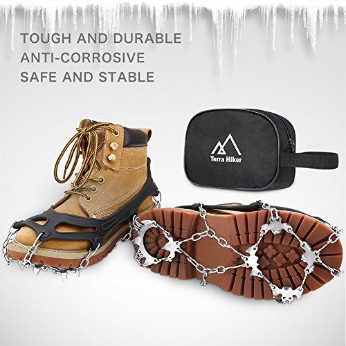 Terra Hiker Crampones con 18 Dientes-Pinchos Tacos de Tracción de Acero Inoxidable y Anti Deslizante en Hielo Estabilizadores para Caminar Correr Escalar sobre Nieve o Hielo Negro 5