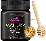Manuka Honig   MGO 514+ (UMF 15+)   250g   Das ORIGINAL aus NEUSEELAND   HOCHAKTIV, PUR, ROH & ZERTIFIZIERT   Premium Qualität 100% natürlich   INKL. GRATIS HONIGLÖFFEL aus Holz   PowerFabrik