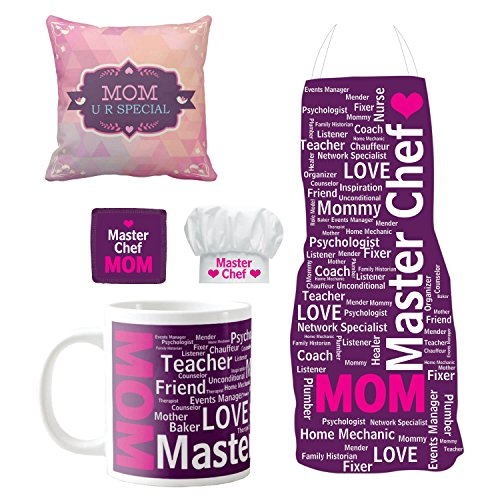YaYa cafe Mothers Day Gifts for Mom, Master Chef Super Mom Hamper for Mom Set of 5 - Cushion Cover, Mug with Coaster, Apron, Chef Hat
