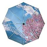 Parapluie personnalisé Motif Montagne Japonaise 3 Plis Coupe-Vent Ouverture Automatique Fermeture Léger Anti-UV