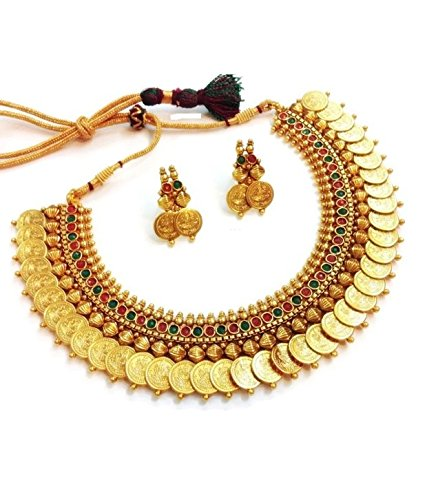 YouBella Traditional Red and Green Temple coin Necklace Set / Jewellery Set with Earrings for Women