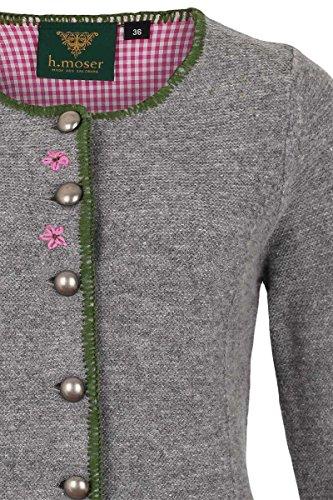 Damen h.moser Salzburg Damen Trachtenstrickjacke grau rosa, 0465 Grau, 46 -