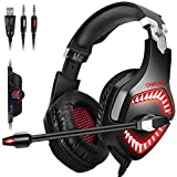 ONIKUMA Newest Version Stereo Gaming Headset for PS4, PC, Xbox One, Mac, Nintendo Switch ?50mm Driver??3D Surround Sound? Over-Ear Headphones with Noise Reduction Mic, Soft Memory Earcup & LED Light