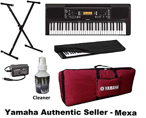 Yamaha PSR-E363 Keyboard 61-Keys Digital Portable Touch Sensitive With Gig Bag, Stand, Dust Cover & Power Adapter Combo Pack By Mexa (Yrd)